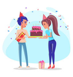 couple with cake and present box holiday vector image