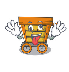 crazy wooden trolley mascot cartoon vector image