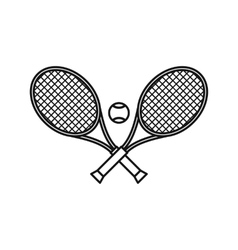 Crossed tennis rackets and ball icon outline style vector image