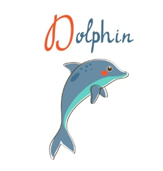 D is for dolphin vector image