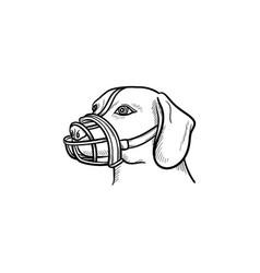 Dog with a muzzle hand drawn outline doodle icon vector