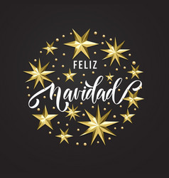 Feliz navidad spanish merry christmas golden star vector