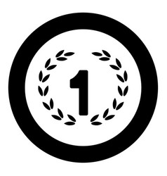 First place icon black color in circle or round vector