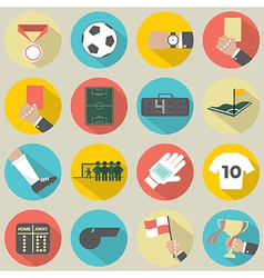 Flat Design Football Soccer Icons Set 16 vector image