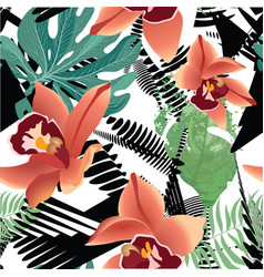 Floral seamless pattern tropical flower background vector