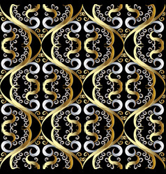 Floral vintage oriental style 3d seamless pattern vector