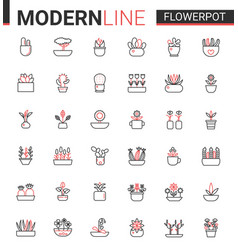 flower pots for home garden flat thin red black vector image