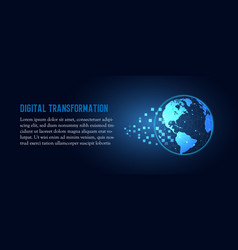 Futuristic change of blue earth digital vector