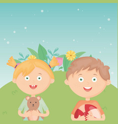 girl and boy with ball and teddy outdoors kids vector image