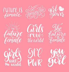 girls rule the world future is female etc vector image