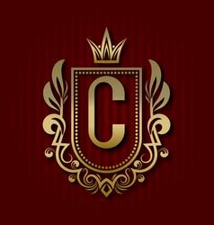 Golden royal coat of arms c monogram vector