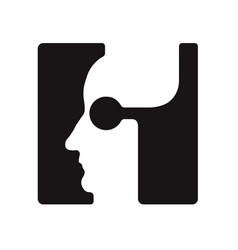H h logo logotype - english font upper case letter vector