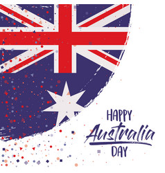happy australia day poster with australian flag vector image