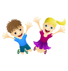 happy children jumping in air vector image