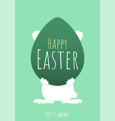 Happy easter greeting background with bunny behind vector