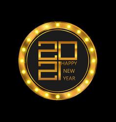 happy new year poster golden 2021 logo vector image