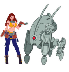Hot female mechanic standing next to the four vector