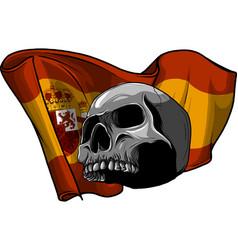 Human skull with spain flag vector
