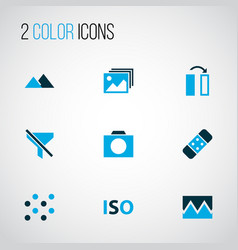 Image icons colored set with photographing flip vector