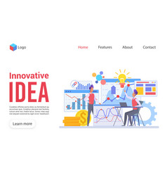 Innovative idea flat landing page template vector