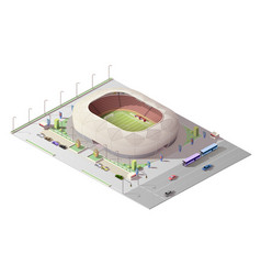 isometric stadium sport arena with tribunes vector image