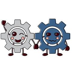 Kawaii gears motion and mechanics cartoon vector
