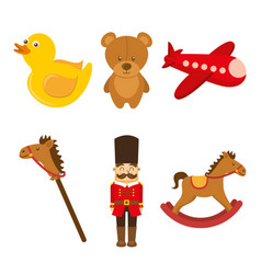 kids toys collection soldier teddy airplane duck vector image