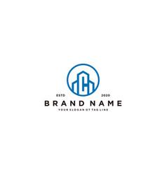 Letter c and building logo design vector