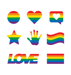 lgbt related symbols set in rainbow colors pride vector image