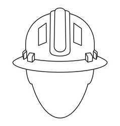 line art black white construction worker avatar vector image