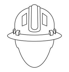 line art black white construction worker avatar vector image