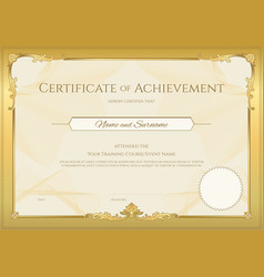 luxury certificate template with elegant border vector image