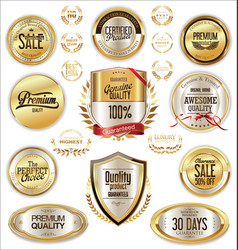 luxury quality golden badge retro collection 4 vector image