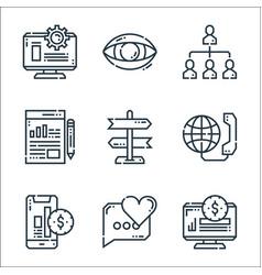 Marketing line icons linear set quality line set vector