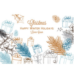 merry christmas card lineart christmas vector image