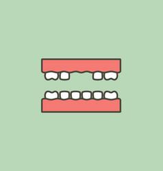 Missing tooth space between teeth vector