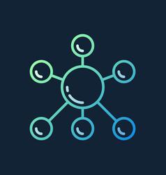 molecule colorful outline icon on dark vector image