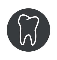 Monochrome round tooth icon vector