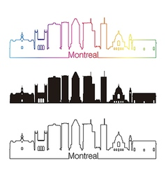 Montreal v2 skyline linear style with rainbow vector