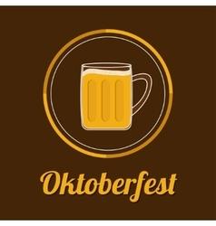 Oktoberfest beer glass mug with foam cap froth vector