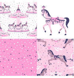 pink set of carousel seamless patterns vector image