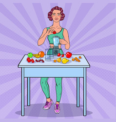Pop art woman making smoothie with fresh fruits vector