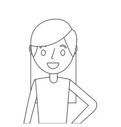 portrait cartoon woman smiling character vector image