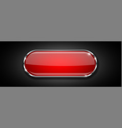 Red glass button on black background shiny 3d vector