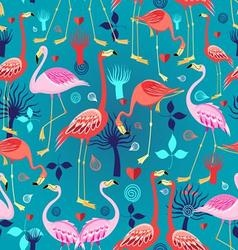 Seamless graphic pattern of flamingos in love vector image