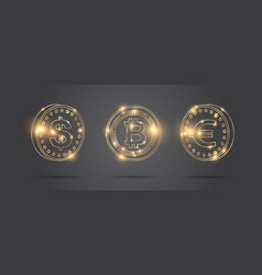 set coins different currencies digital and vector image