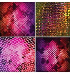 set four abstract background with geometric vector image