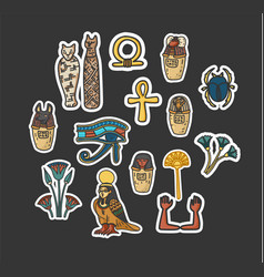 set of ancient egyptian sacred elements vector image