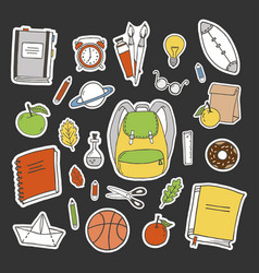 set of school stickers vector image