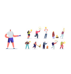 set people with different lights tiny male and vector image
